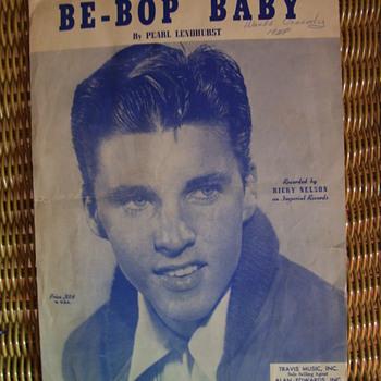 """RICKY NELSON SHEET MUSIC """" BE-BOP BABY"""", 1957 - Music Memorabilia"""