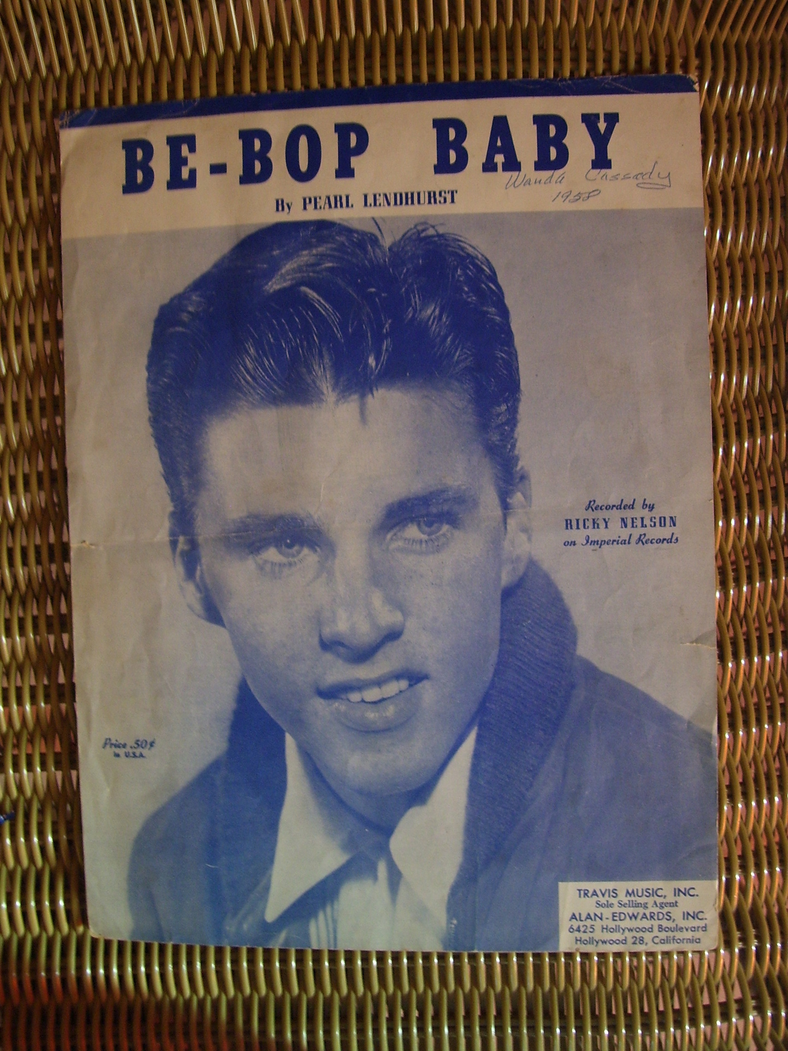 """RICKY NELSON SHEET MUSIC """" BE-BOP BABY"""", 1957 