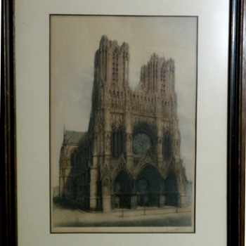 "Antique ""Original"" Etching of Notre Dame by Loiuteau (Not a Print)"