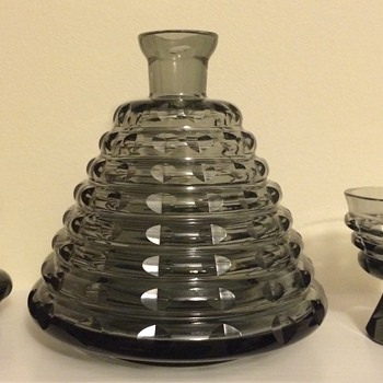 Cut smoked Art Deco or mid century decanter and glass service