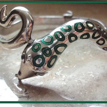 Art Deco Enameled Sterling Silver Snake Bracelet Bangle - Art Deco