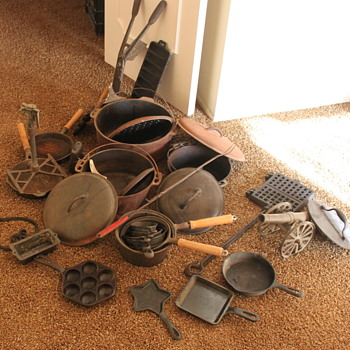 Cast Iron Skillets, Sprinkler, Marshmallow Holder. etc...
