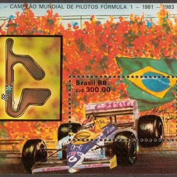 "1988 - Brazil ""Formula 1 Racing"" Souvenir Sheet - Stamps"