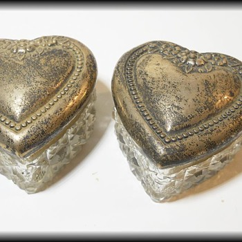 Small Pair of Dresser Glass Trinket Boxes - Unknown - Glassware