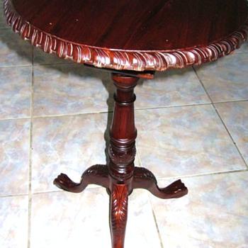 Mahogany Swivel Top Lions Foot Table - Furniture