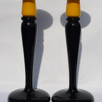 Czech candle sticks - Art Glass