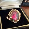 "Antique Australian Black Fire Opal Custom Pierced Mounting 18k Ring ""500th CW Post!"""