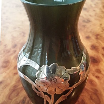 Loetz Dark Brown Metallin Vase with Alvin Sterling Silver Overlay. - Art Glass
