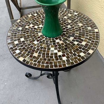 Awaji Vase on a small tile top table - Asian
