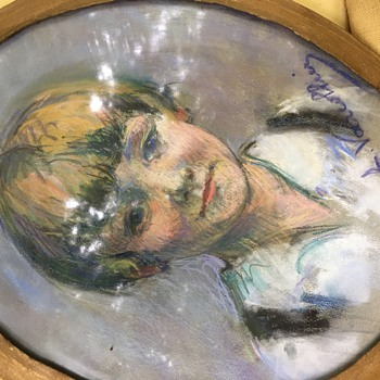 Pastel art young boy round blonde hair  - Fine Art