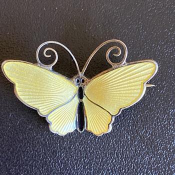 Lovely Yellow Enamel Butterfly Brooch by David Andersen.  - Animals