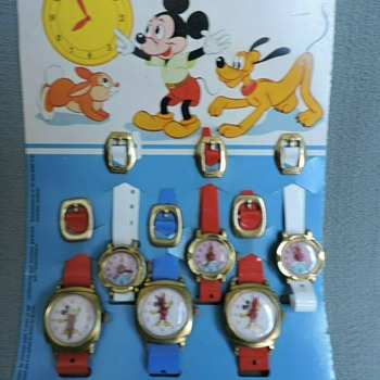ESCO Mickey Mouse and Cinderella Toy Watches - Wristwatches