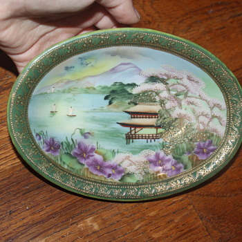 An Antique Japanese IC&E Company Aurulent Moriage Cherry Blossom Oblong Bowl - Asian