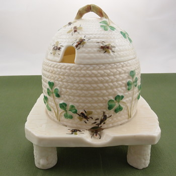 Belleek Shamrock Honey Pot on Three Feet - 3rd mark - Pottery