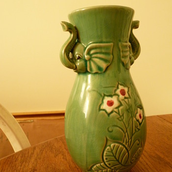Vase with elephant heads, flowers and greenery - Pottery