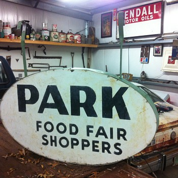 1950's  Porcelain Food Fair grocery store sign - Advertising