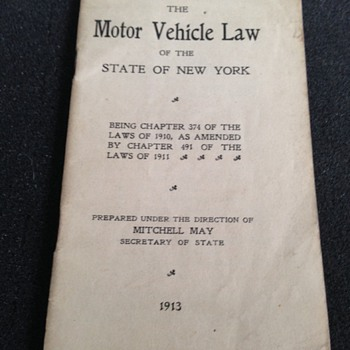 1913 NY State Motor Vehicle Laws Pamplhlet