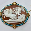 Fine gold and turquoise  Mars cameo with horses