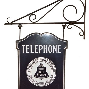 New England Telephone & Telegraph Co. Rectangle Business Office Bracket Sign - Signs
