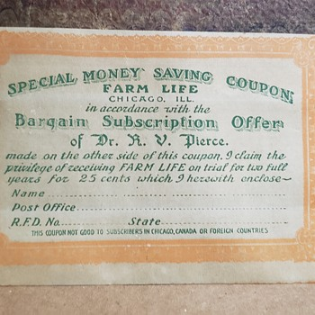 Dr R. V. Pierce Subscription for Farm Life - Advertising