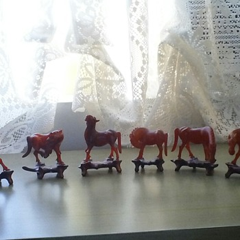 My Collection of 1940s Horse Figurines with Individual Stands