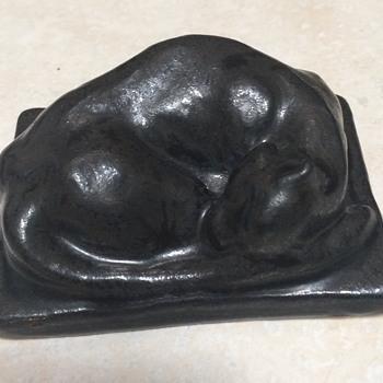 Pewabic Pottery Sleeping Cat Paperweight - Animals