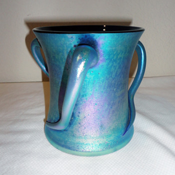 Three Handled Bohemian Vase - Art Glass