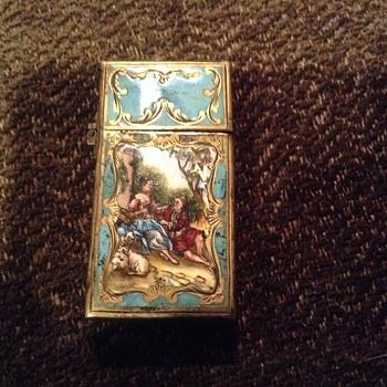 VINTAGE ZIPPO ENAMEL LIGHTER 800 silver. 2517191 - Tobacciana
