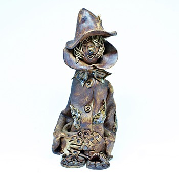 Studio Pottery Folk Art Clown/Scarecrow. - Pottery