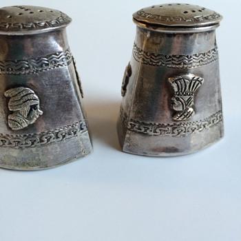 Mayan / Aztec  Metal Salt and Pepper Shakers
