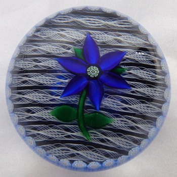 Perthshire Blue Gentian Paperweight  - Art Glass