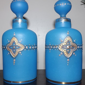 Bohemian hand painted blue cased glass perfume or cologne bottles - Bottles