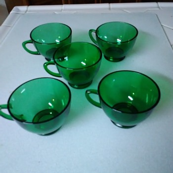 Green glass teacups - Glassware