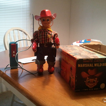 1957 Japan made Marshal Wild Bill tin toy still works