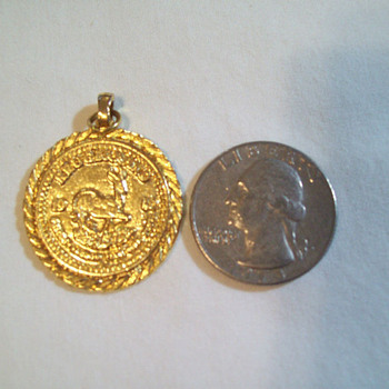 14K GOLD 1980 KRUGERRAND NECKLACE PENDANT 7.8 GRAMS / WITH STAMP - Fine Jewelry