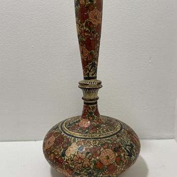 Hand Painted Flower Decorated Vase - Asian