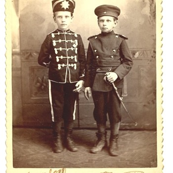 Two Little Boys in German Uniforms - Photographs
