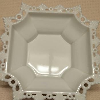 Westmoreland's Square Milk Glass Dish - Glassware