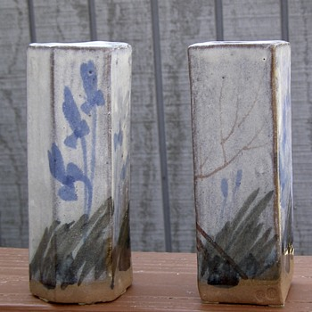 Hand painted stoneware bud vases- Need help identifying potter - Pottery
