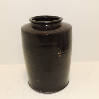 Hand Thrown Redware Jug - Dark Brown Glaze - Date? Origin? - Pottery