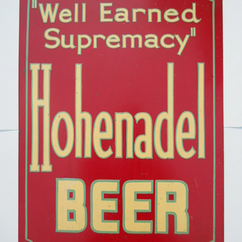 Hohenadel Beer Metal Sign Philadelphia PA