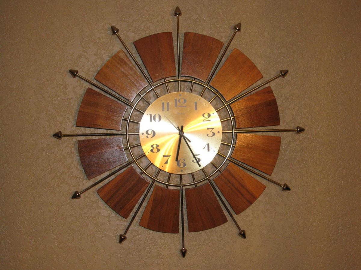 Mid Century Modern Teak Forestville Sunburst Wall Clock  Collectors Weekly
