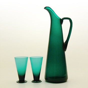 SV jug and glasses, Nanny Still (Riihimäen, 1950) - Art Glass