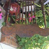 Antique pressed wood rocking chair horse hair seat and pink mohair cover removed