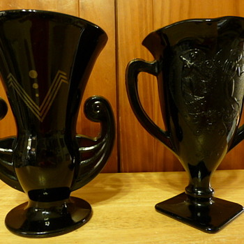 L E Smith Glass Co. black vases - Art Glass