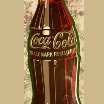 1956 Coca Cola  tin die cut bottle sign. - Coca-Cola