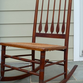 Antique Wood and Cane Rocker