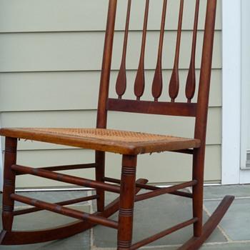 Antique Wood and Cane Rocker - Furniture
