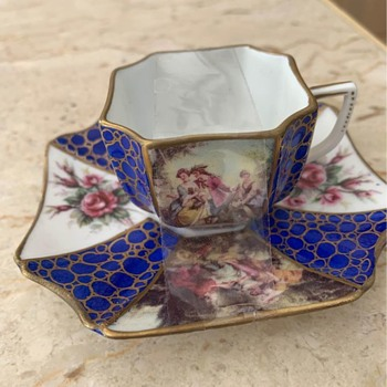 Mini French vintage Coffee cup and saucer - China and Dinnerware