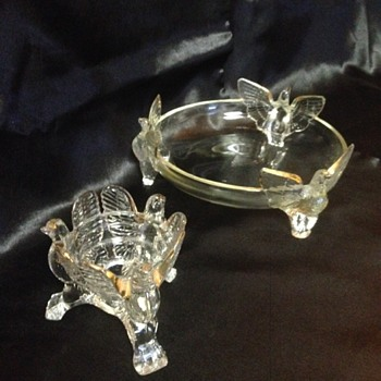 Jeannette Glass 3-footed Eagle Bowl/Candle Holder